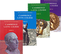 Covers of the 4 books of the Cambridge Latin Course 4th edition